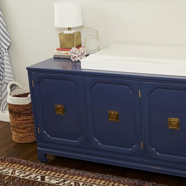 So love this dresser we found and had refinished for a changing table. #nurseryroom #nursery #nurserydecor #wodesigns