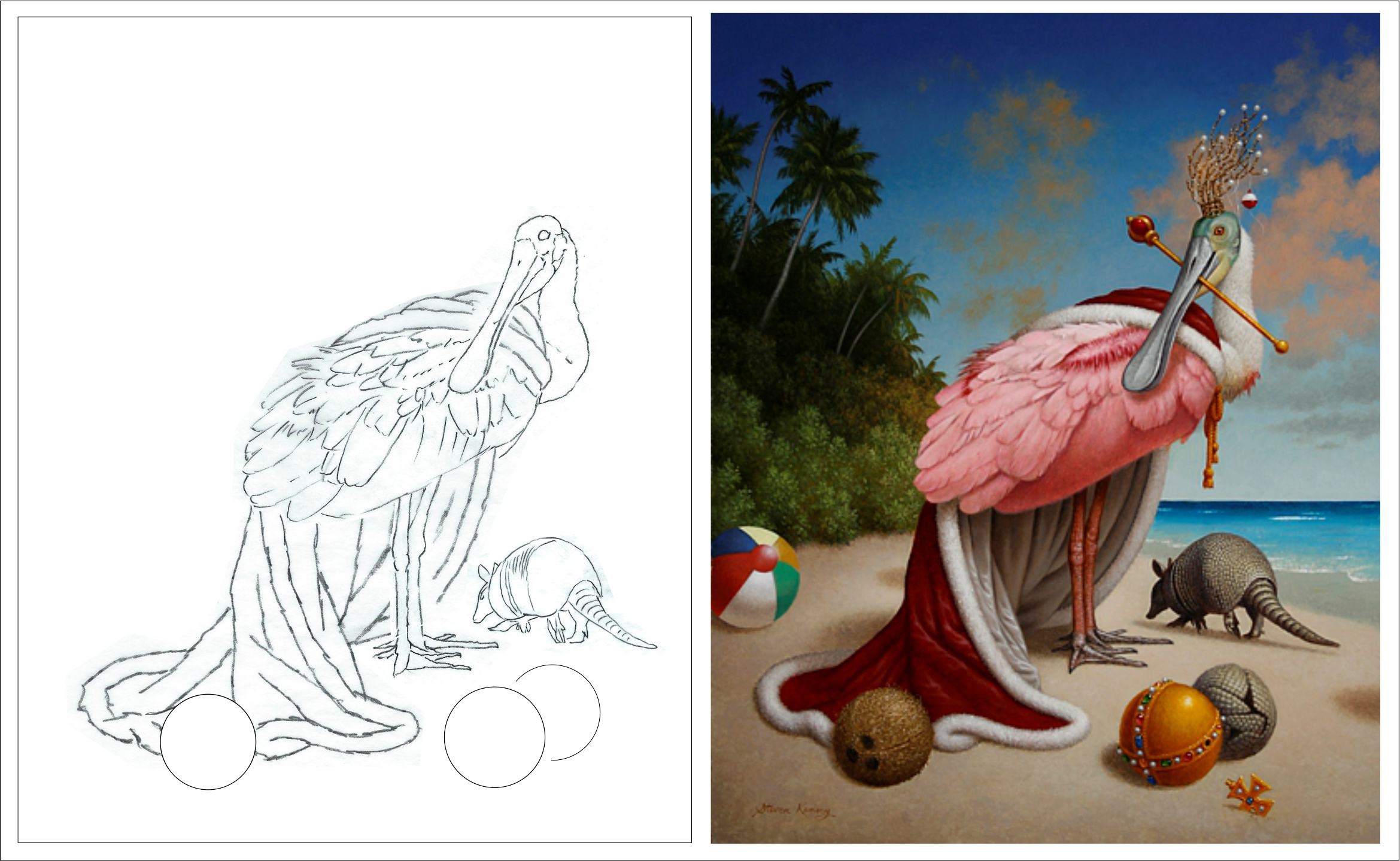 Preliminary sketch (left) and finished painting (right).  The Beach , 2015, oil on canvas, 30 x 24 inches. (copyright Steven Kenny)