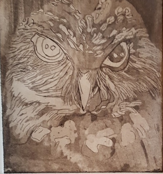 Owl - Lithograph by Nancy Wederstrandt ( Clare)