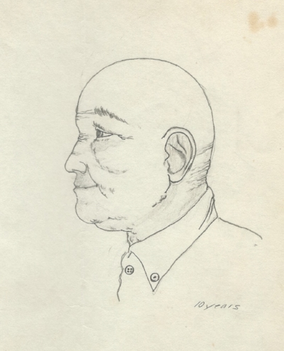 Old Man , 1972, pencil on paper