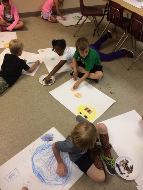 Some campers even got down on the floor so they could spread out and use their whole bodies, making this gross motor art!