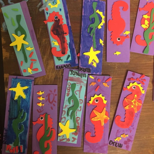 Colorful foam shapes and markers allowed campers to create beautiful and useful bookmarks!