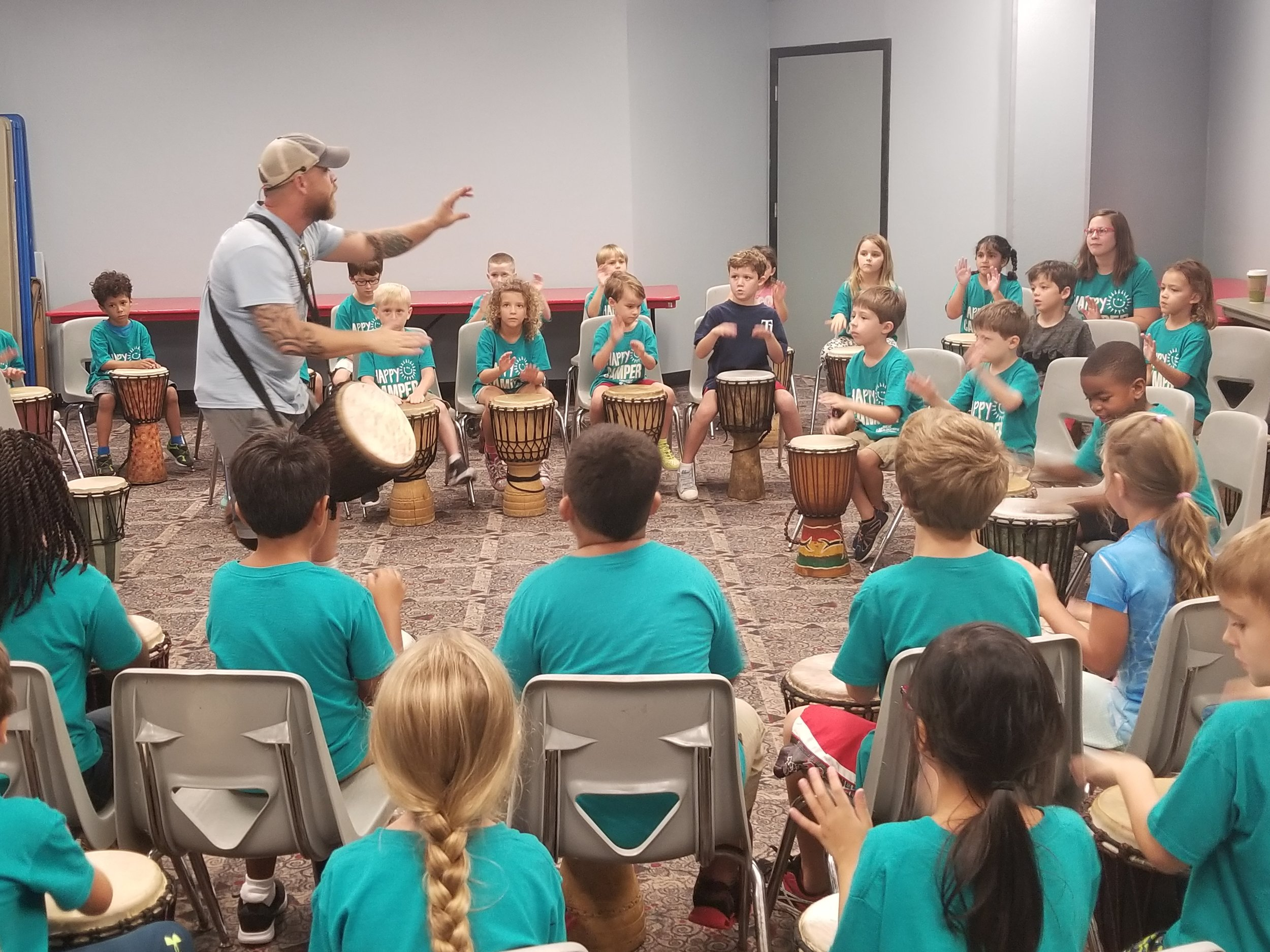 Mr. Steve and Mr. Paul (not pictured) from Giving Tree Music got our campers moving and grooving to the beat!