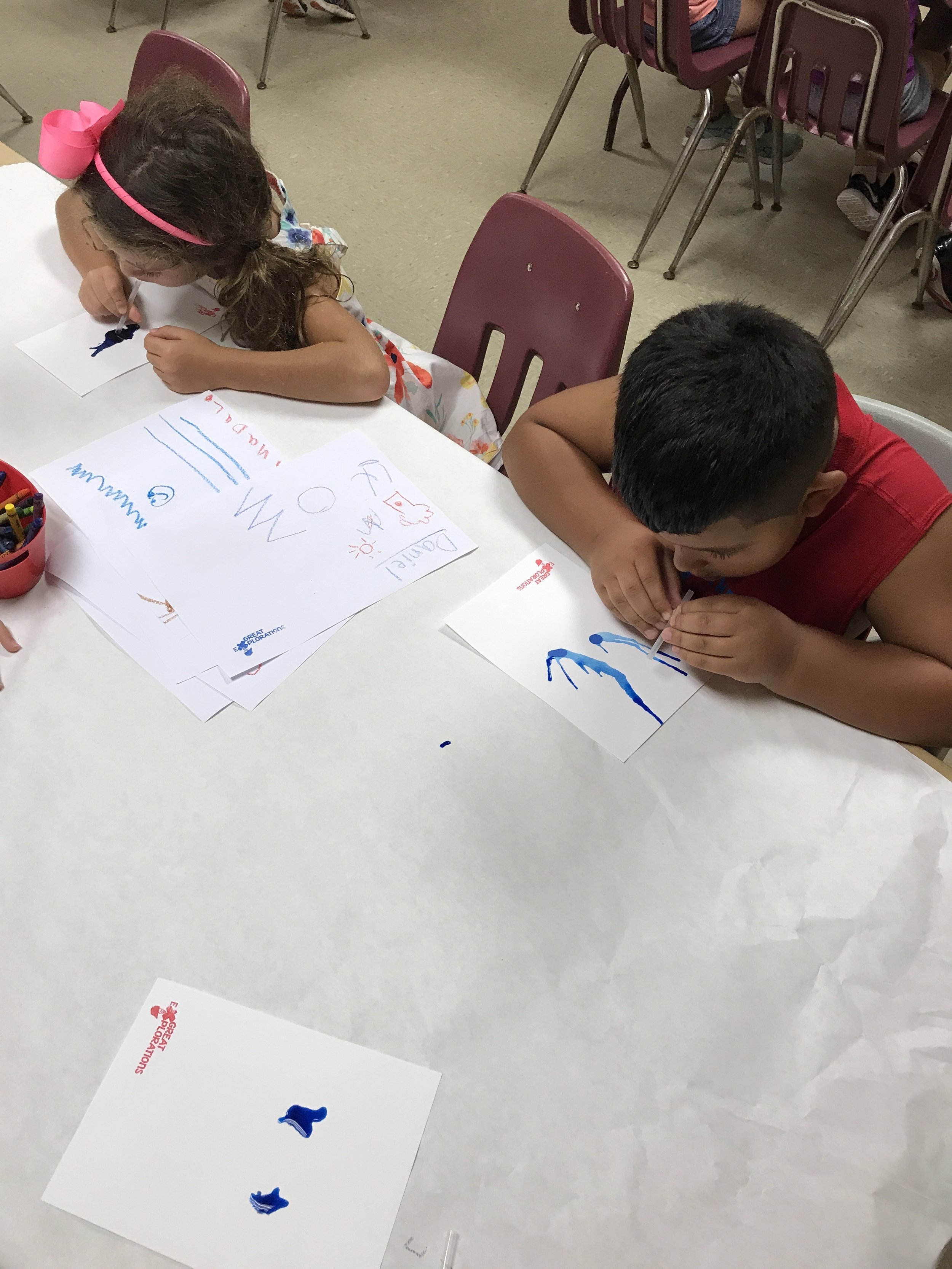 Each camper had a unique way of approaching this non-traditional method of painting.