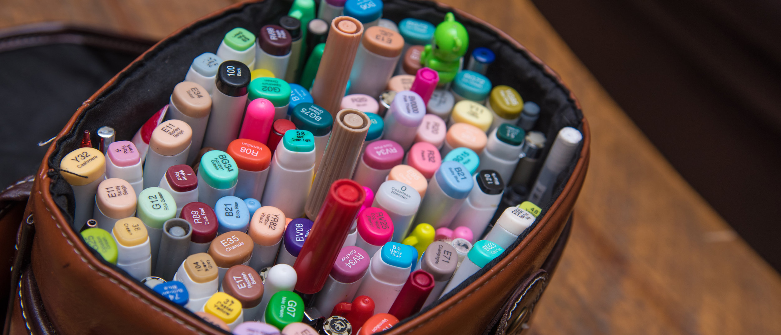 Her bag of markers. She carries this like a purse - anywhere and everywhere she goes.