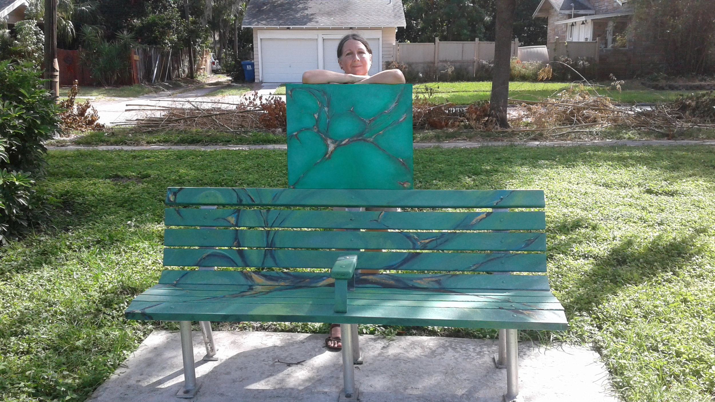 Kenwood Public Art Project- my bench at the southeast corner of Seminole Park, September 2017