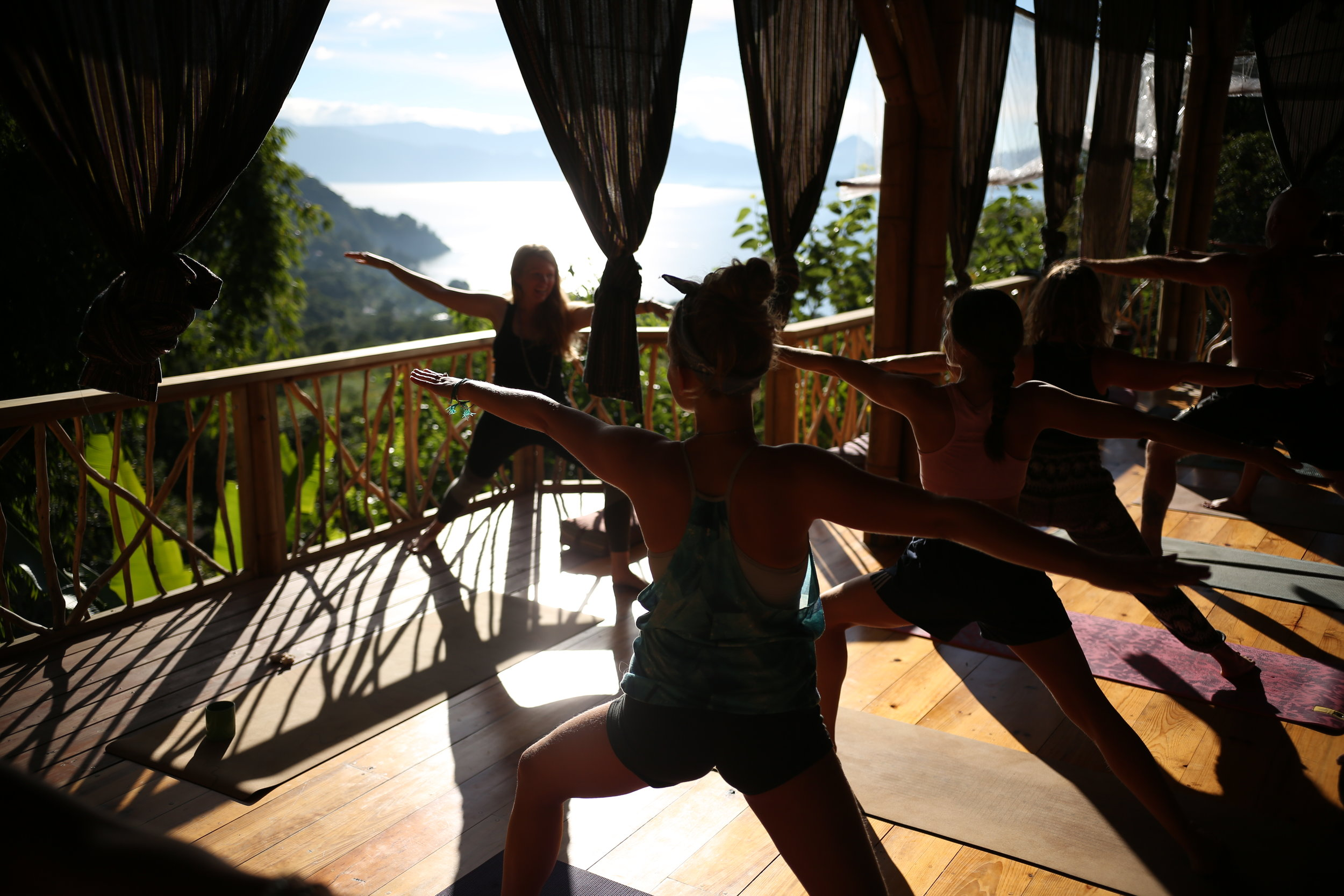 Morning yoga practice during the Sacred Earth YTT in Guatemala