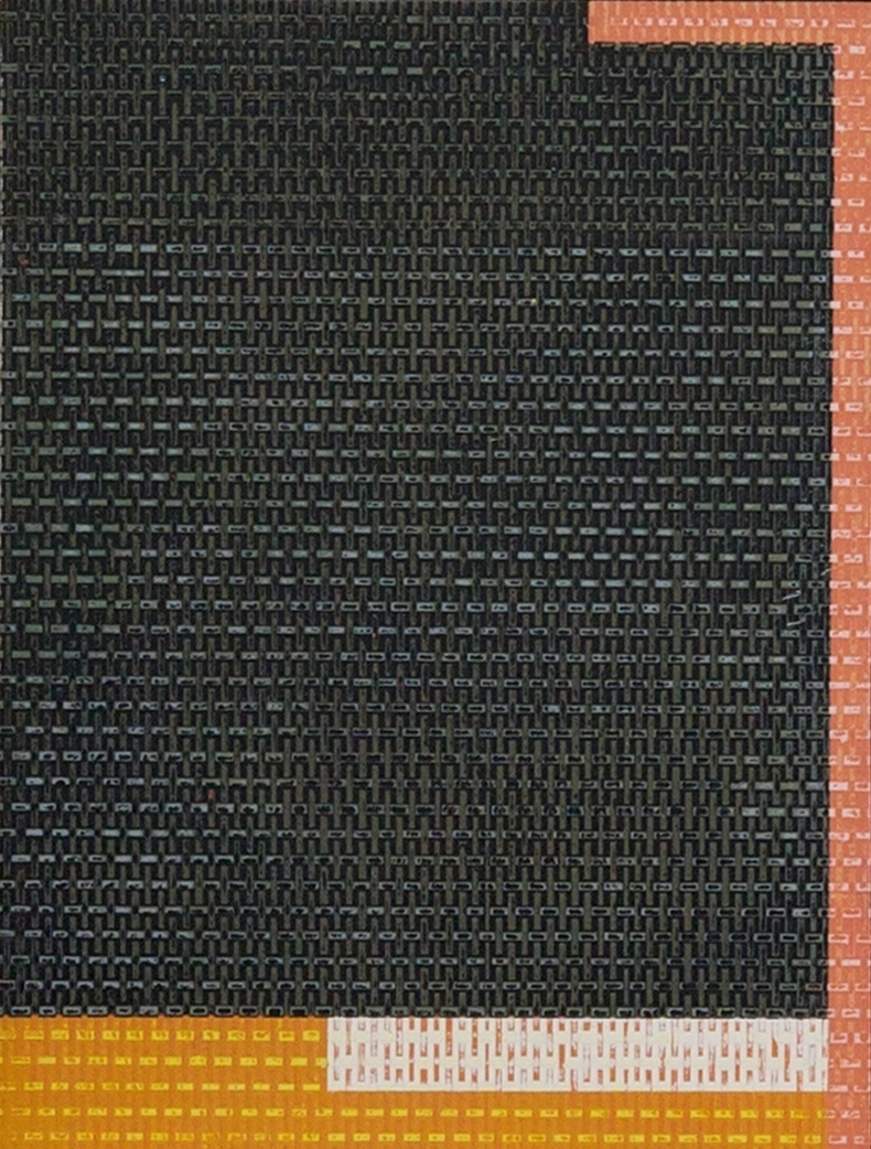 Plain Weave in Black , acrylic on panel, 18x20""