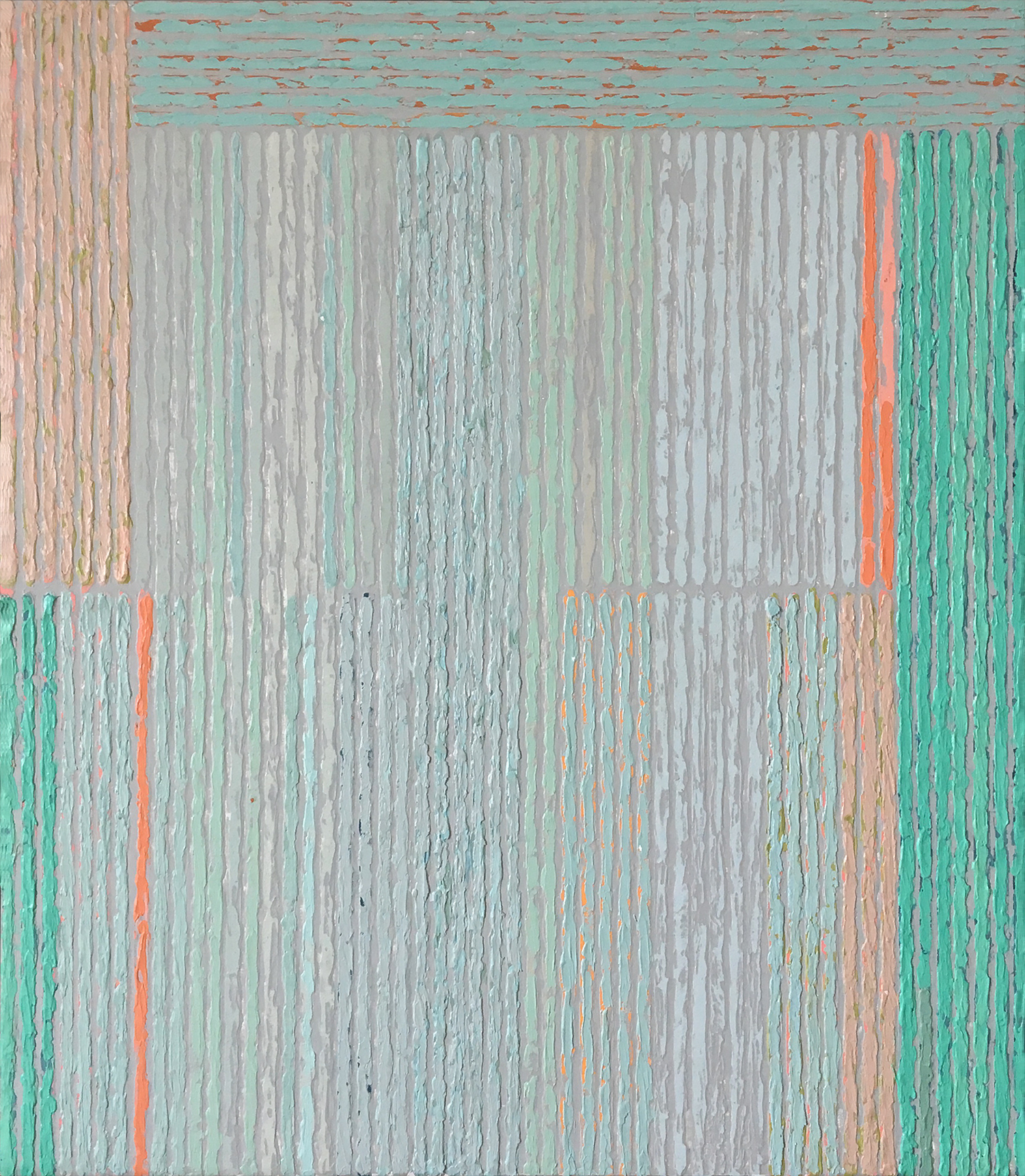 Intuition with Aqua Bars,  acrylic on panel, 16x14""