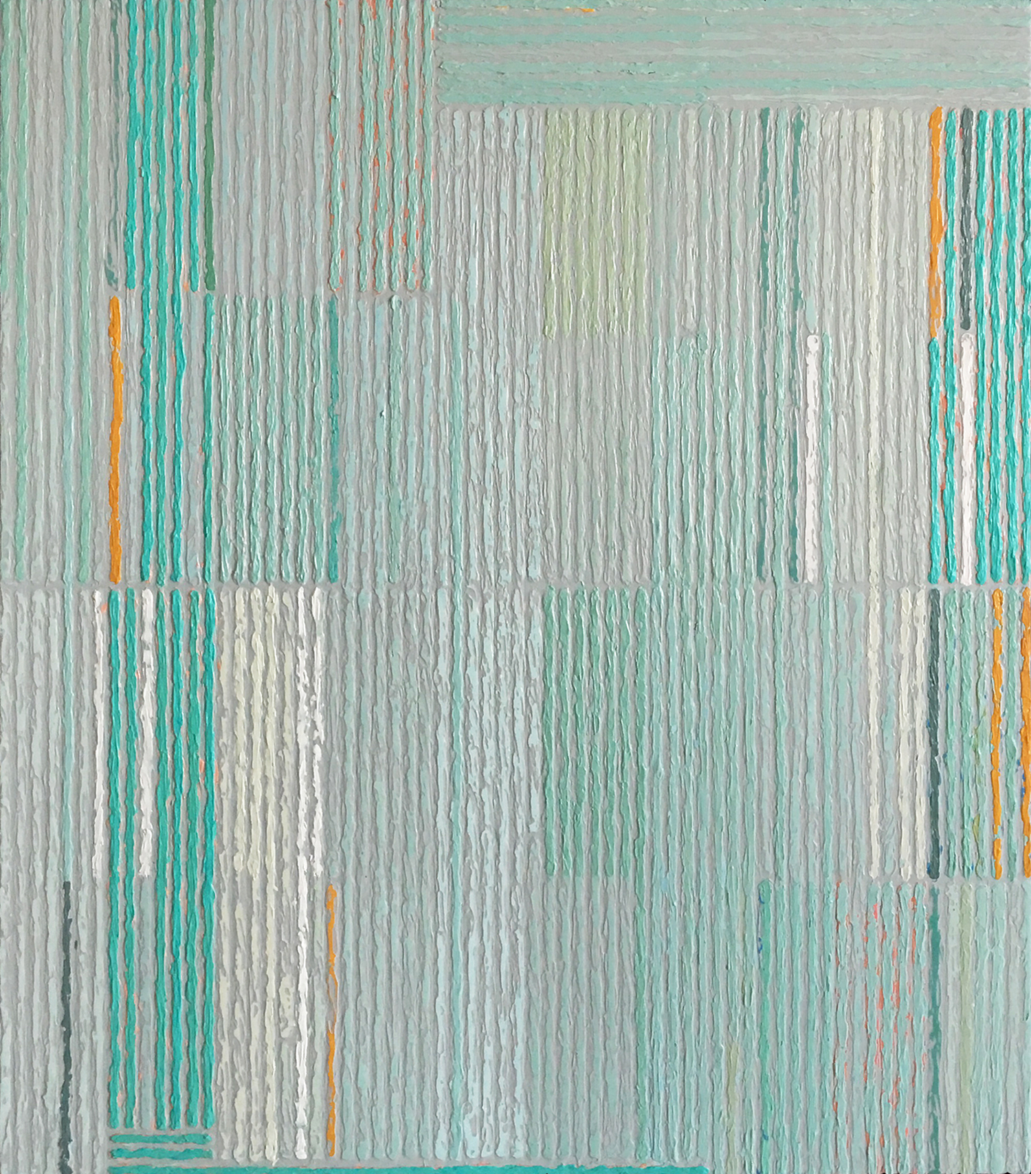 Composition with Aqua Bars,  acrylic on panel, 29x25""