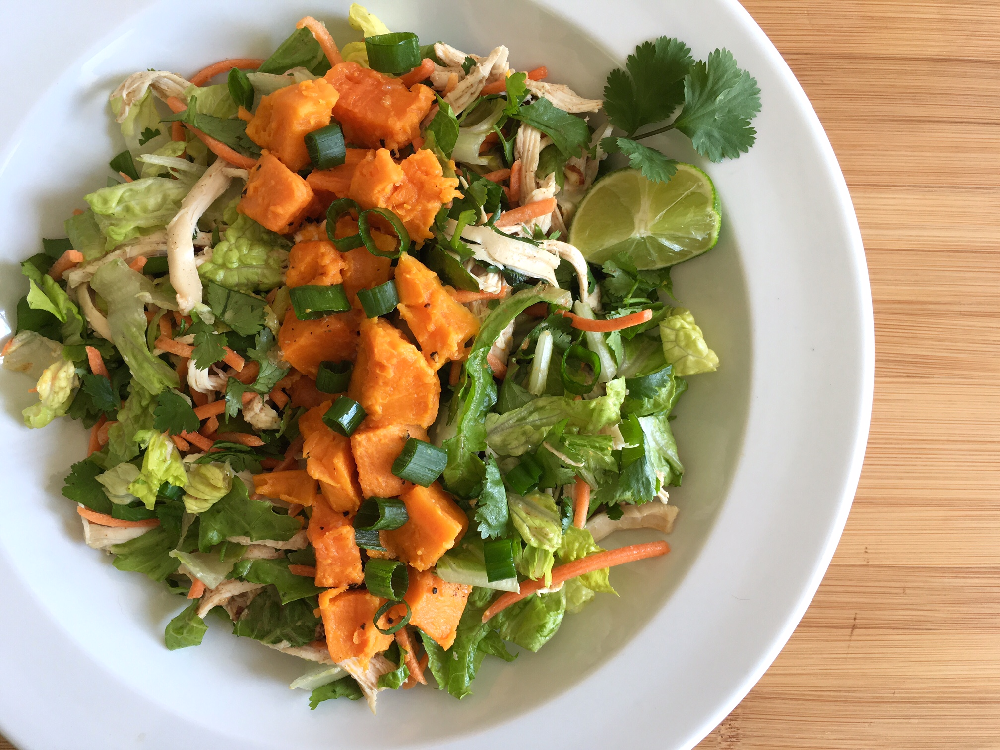 Thai Chicken Salad with Steamed Sweet Potatoes -
