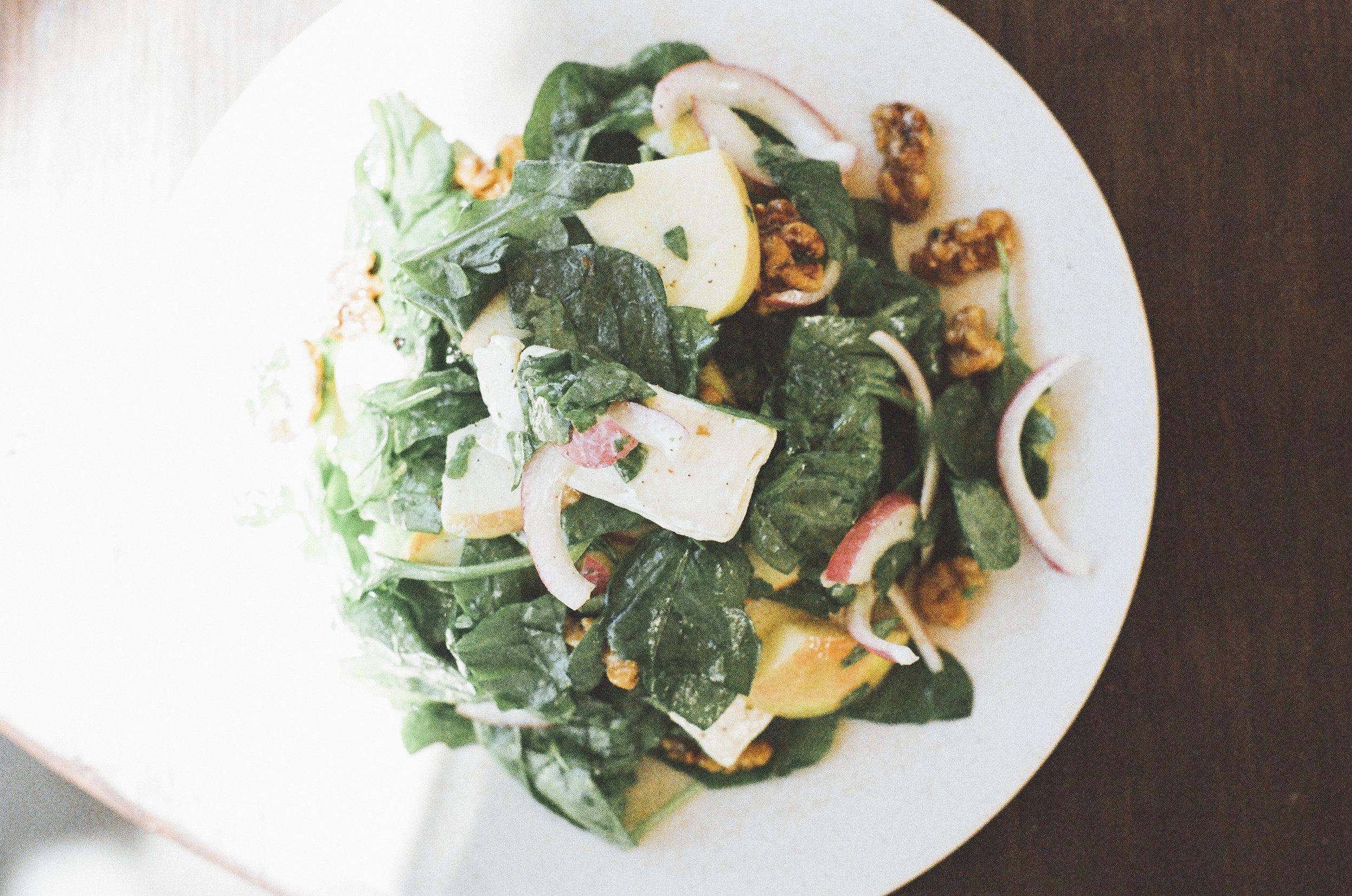 Apple Arugula Salad with Tahini Dressing -