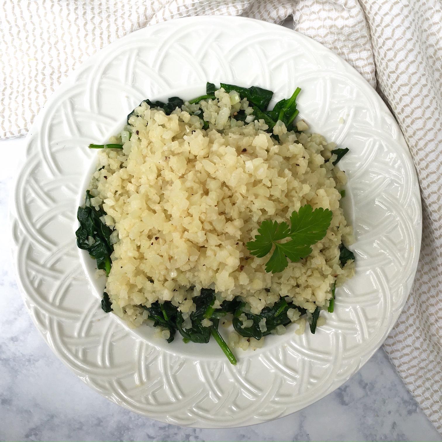 Cauliflower Rice with Garlic Spinach -