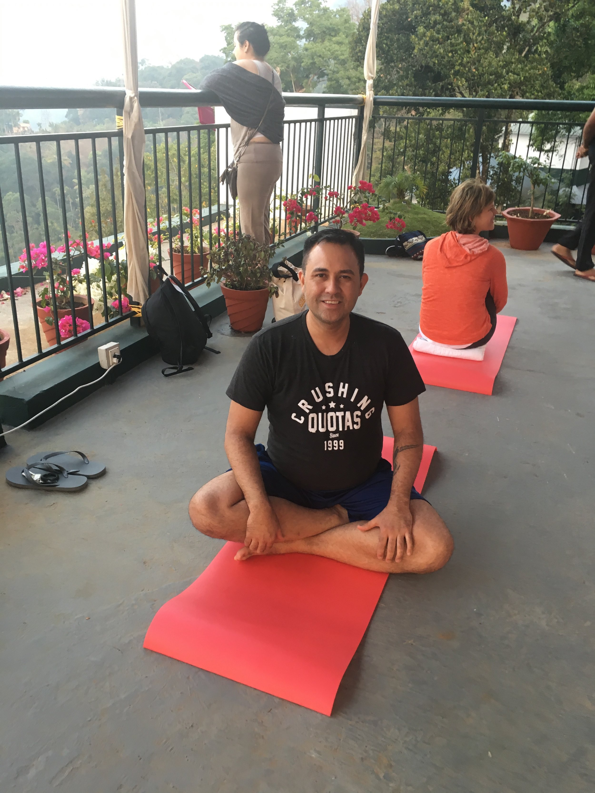 Me at morning Yoga. Yoga is about mind and body. We posed very slowly, held poses for extended times, and then evaluated to make sure that our breath and heart rate did not change. This is how you receive maximum benefit from yoga. Sun Salutations.