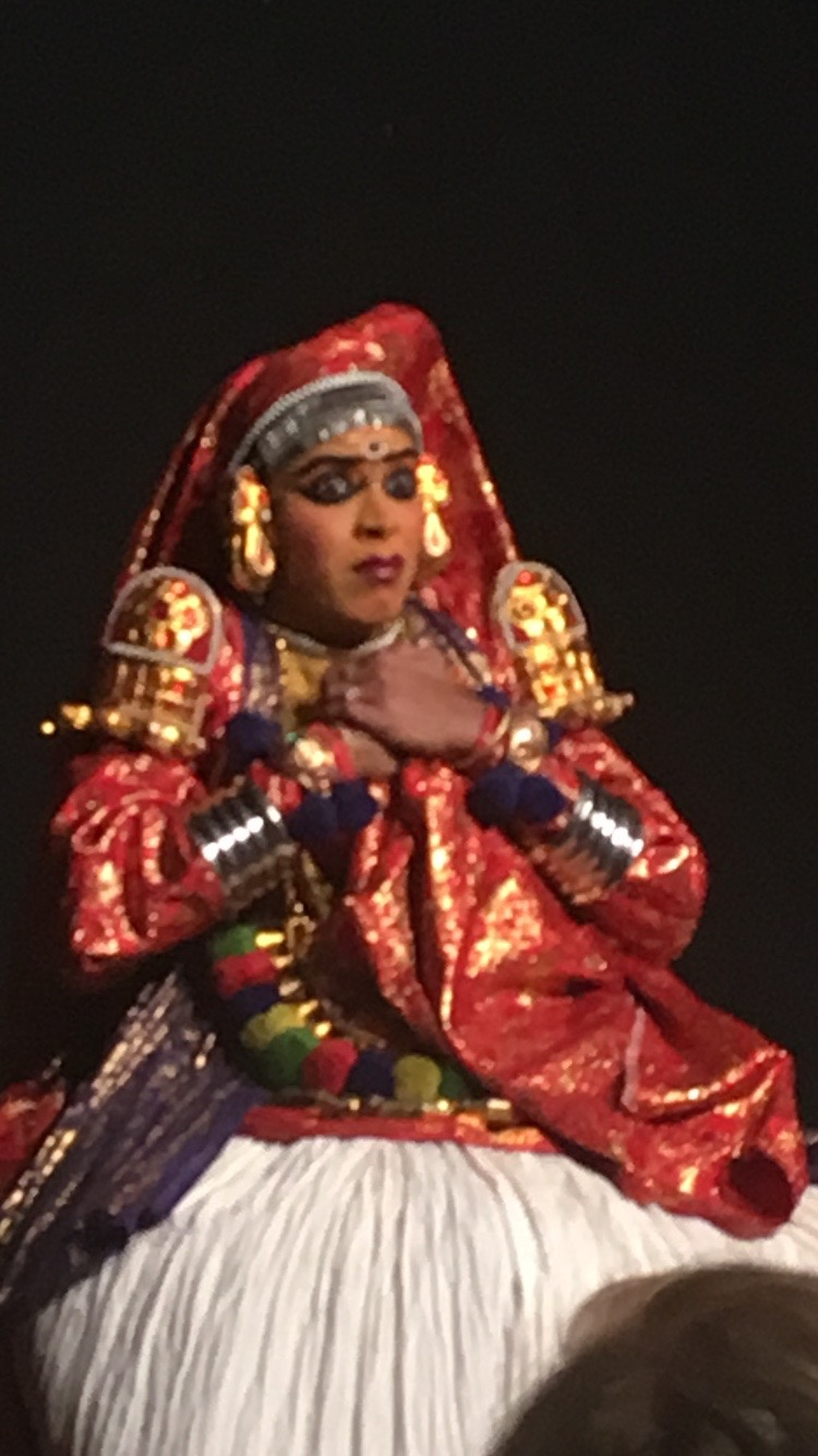 Kathakali dancer demonstrating the different ways she expresses emotion through dance and facial expressions.