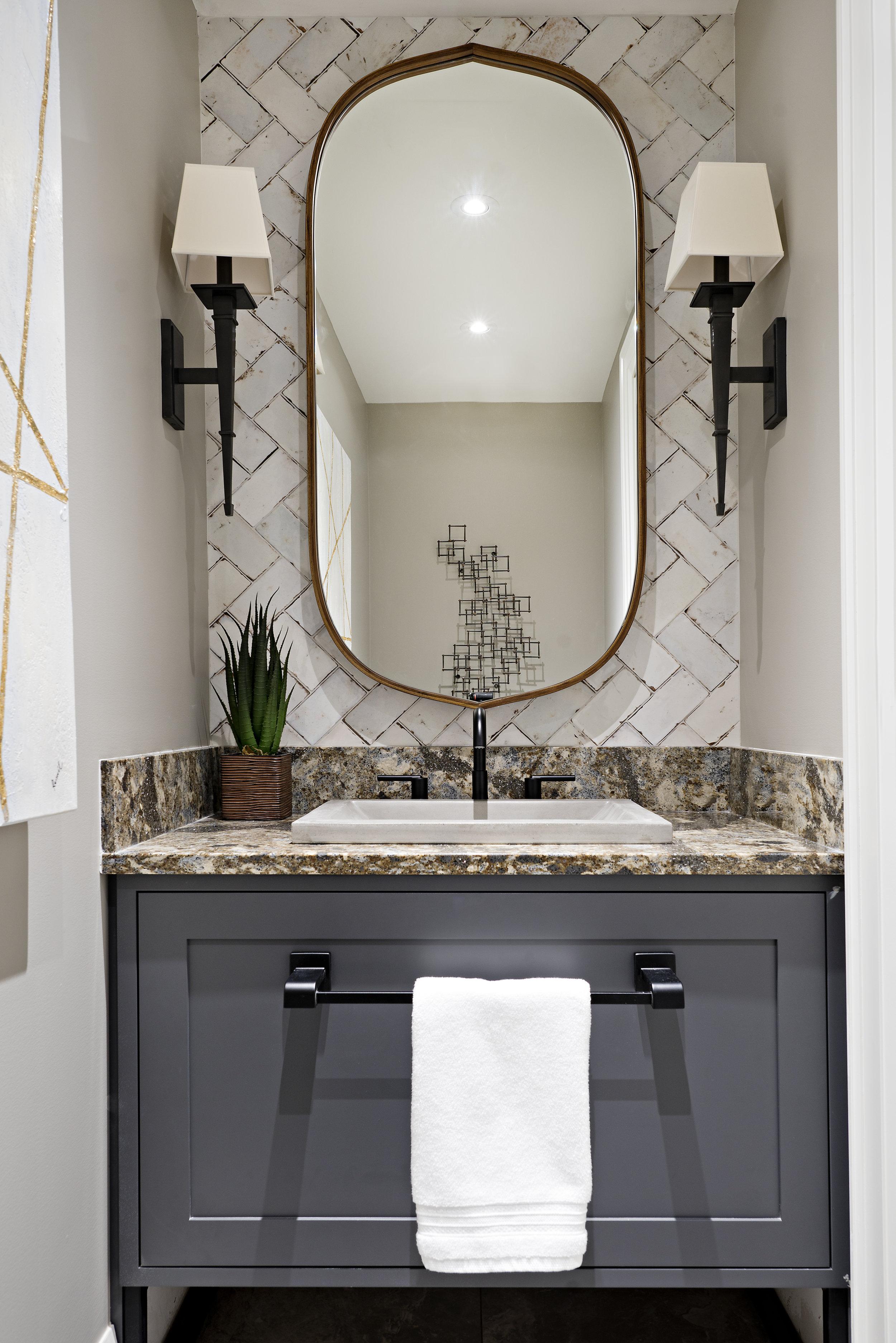 Interior Designer Pizzale Design Bright Powder Room Vanity Design Navy Cabinet.jpg