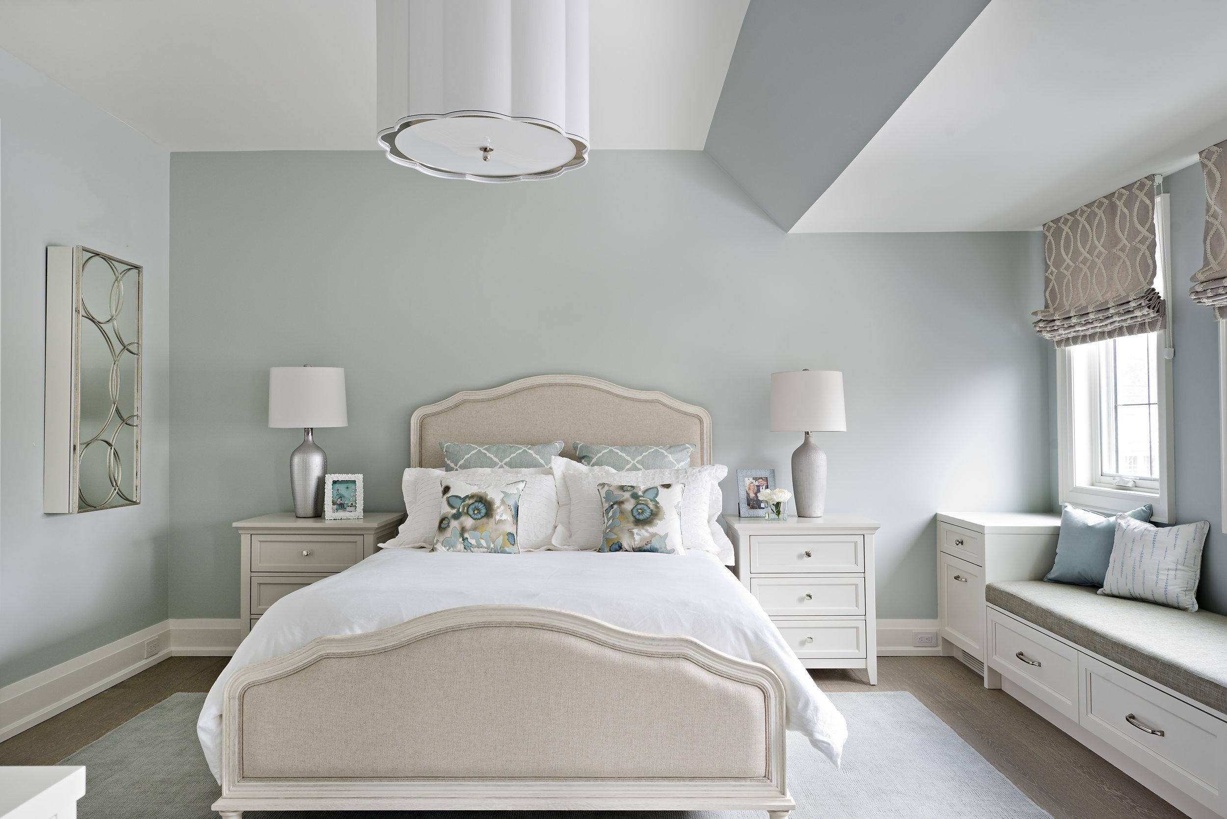 Interior Designer Pizzale Design Bright Girls Bedroom Teal Wall Custom MIllwork Details.jpg