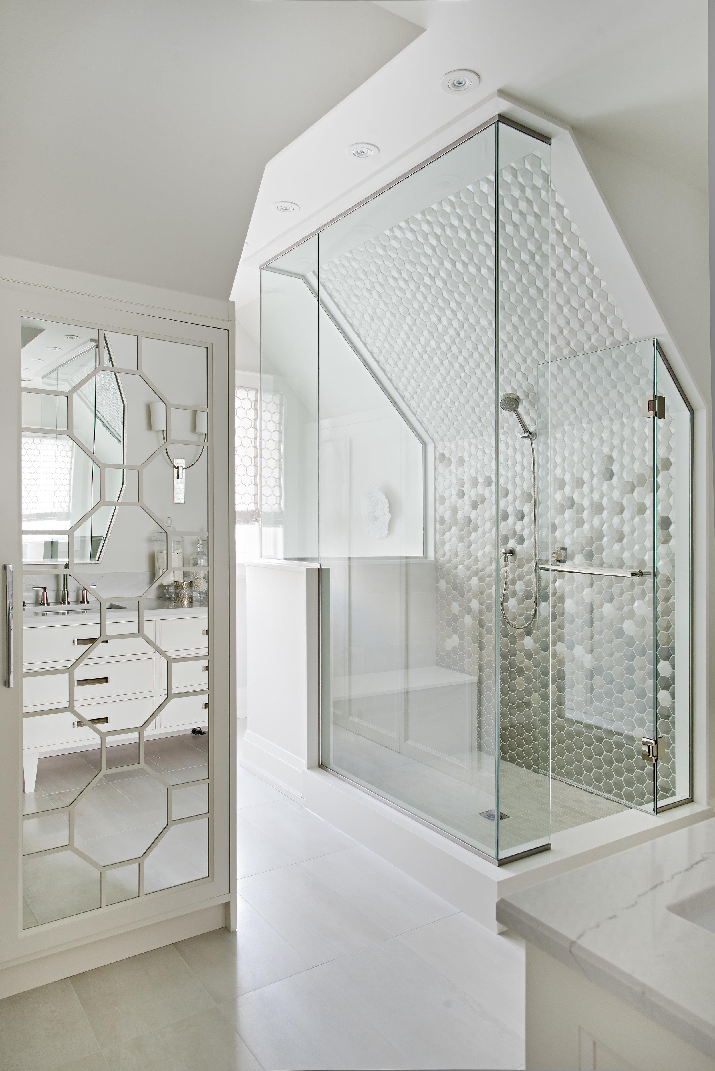 Interior Designer Pizzale Design Bright Shower Stall Hexagon Tile Details.jpg
