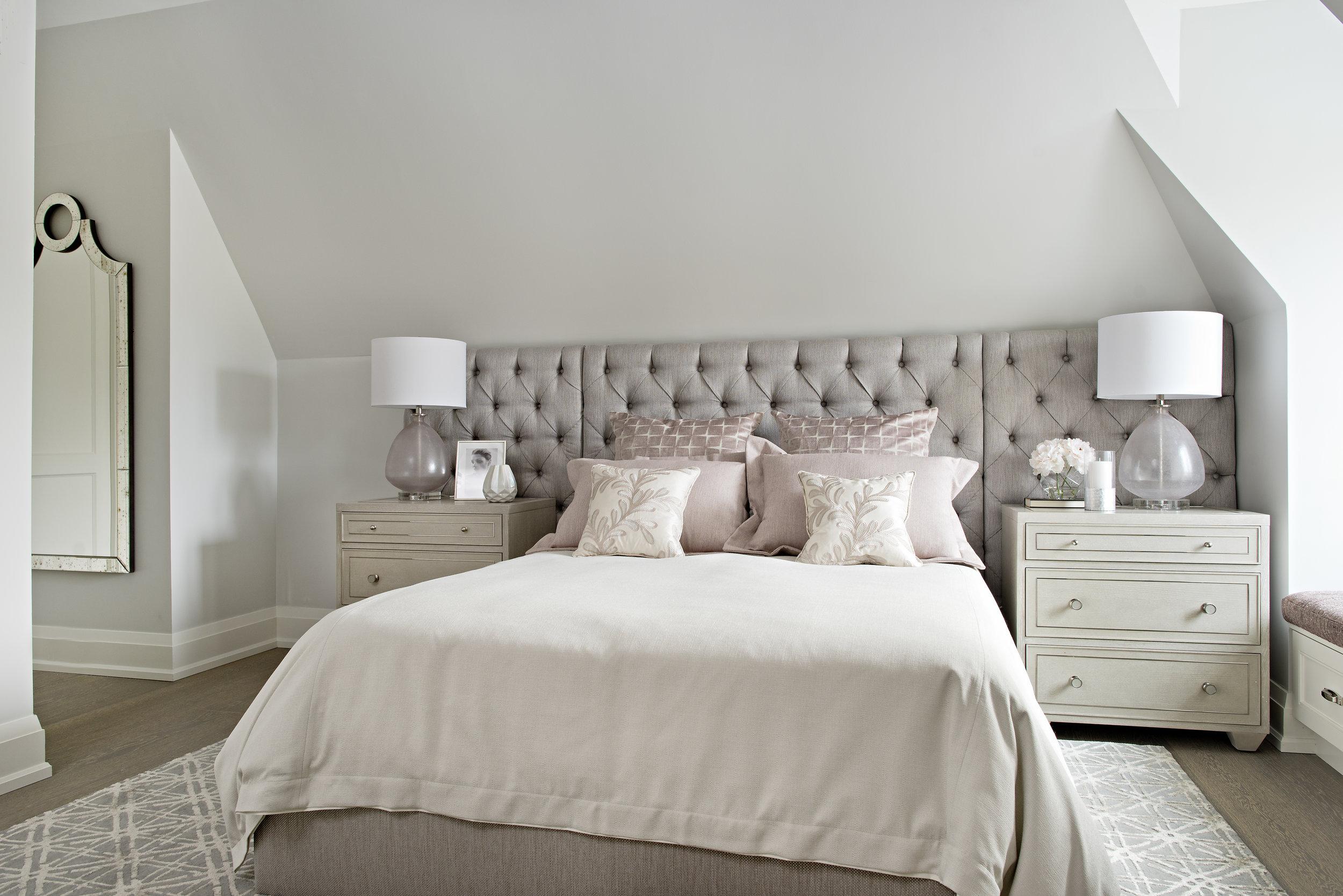 Interior Designer Pizzale Design Custom Upholstered Headboard Feminine Blush Mauve Bedroom.jpg