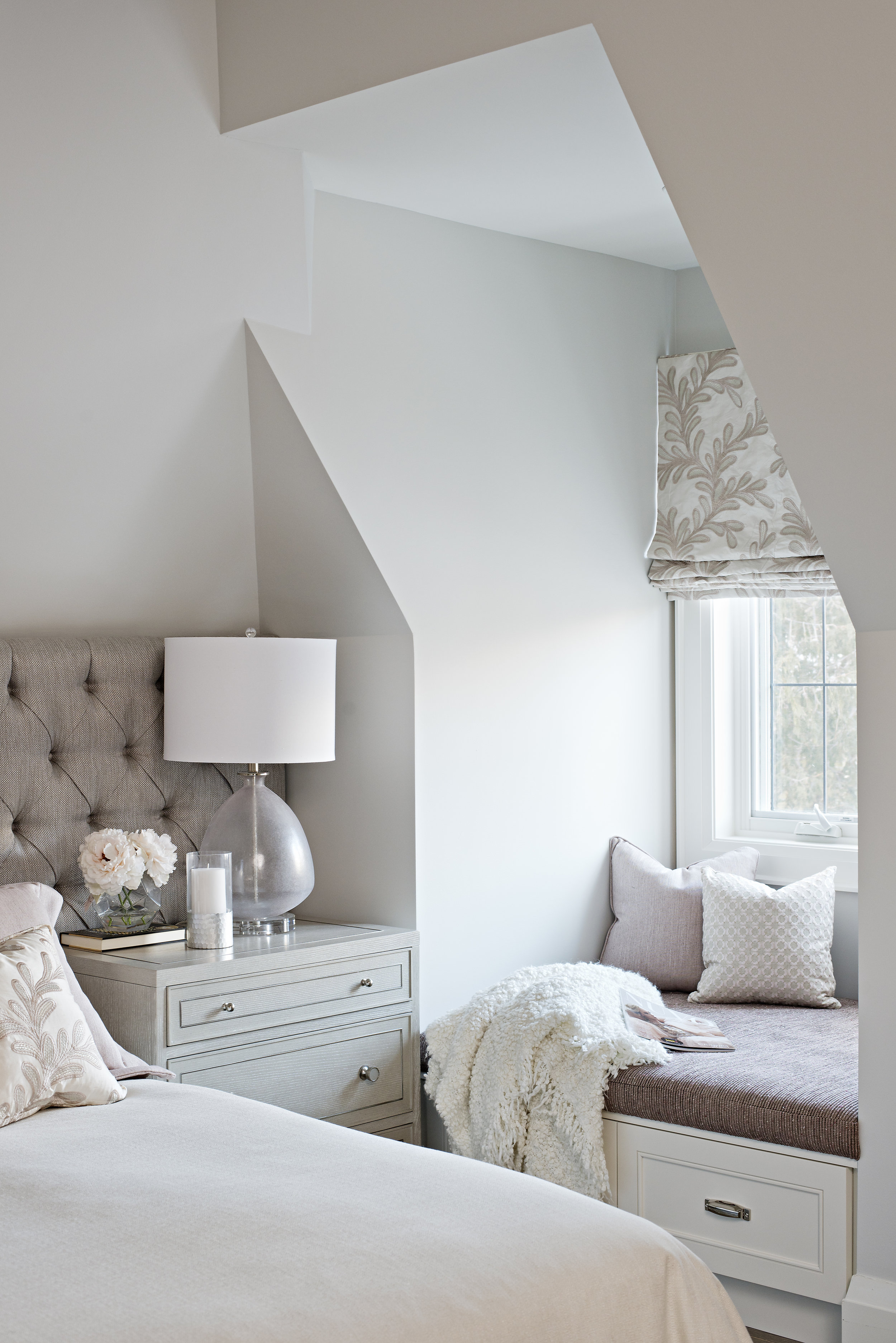 Interior Designer Pizzale Design Custom Window Seat Blush Mauve White Nightstand.jpg