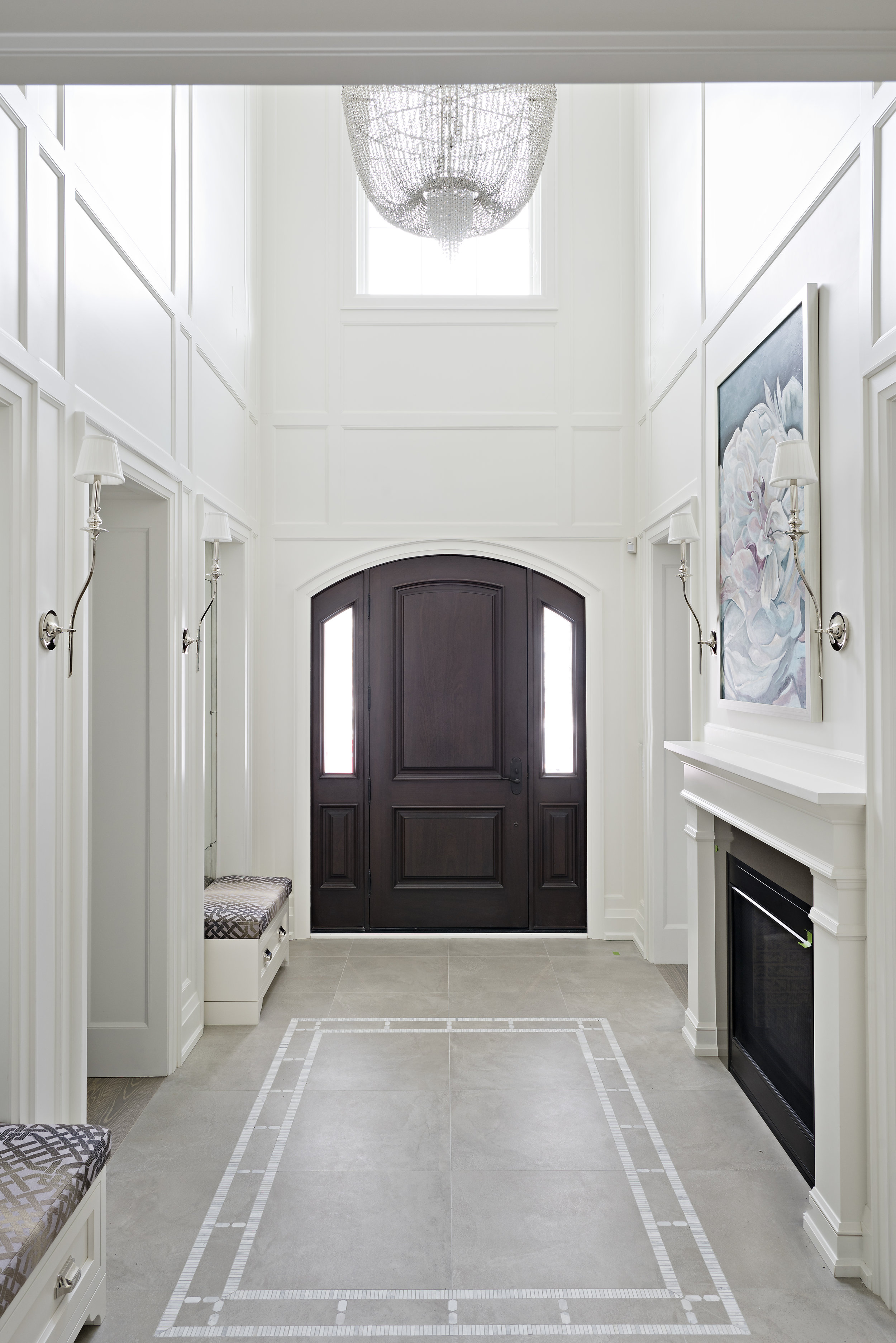 Interior Designer Pizzale Design Front Entrance Hall Custom Floor Inlay Tile Fireplace White.jpg