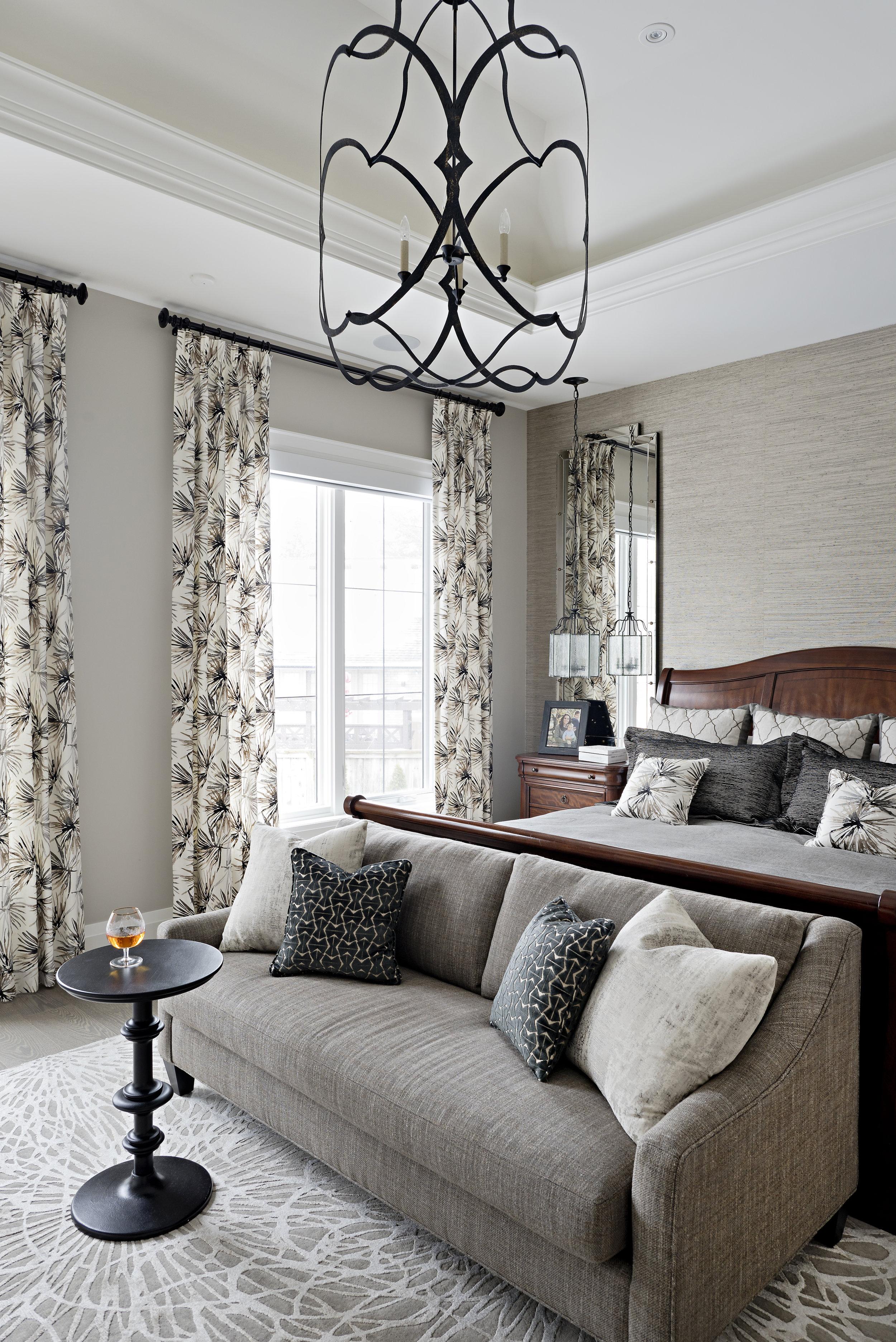 Interior Designer Pizzale Design Master Bedroom Sofa Large Beige Neutral Black Accents.jpg