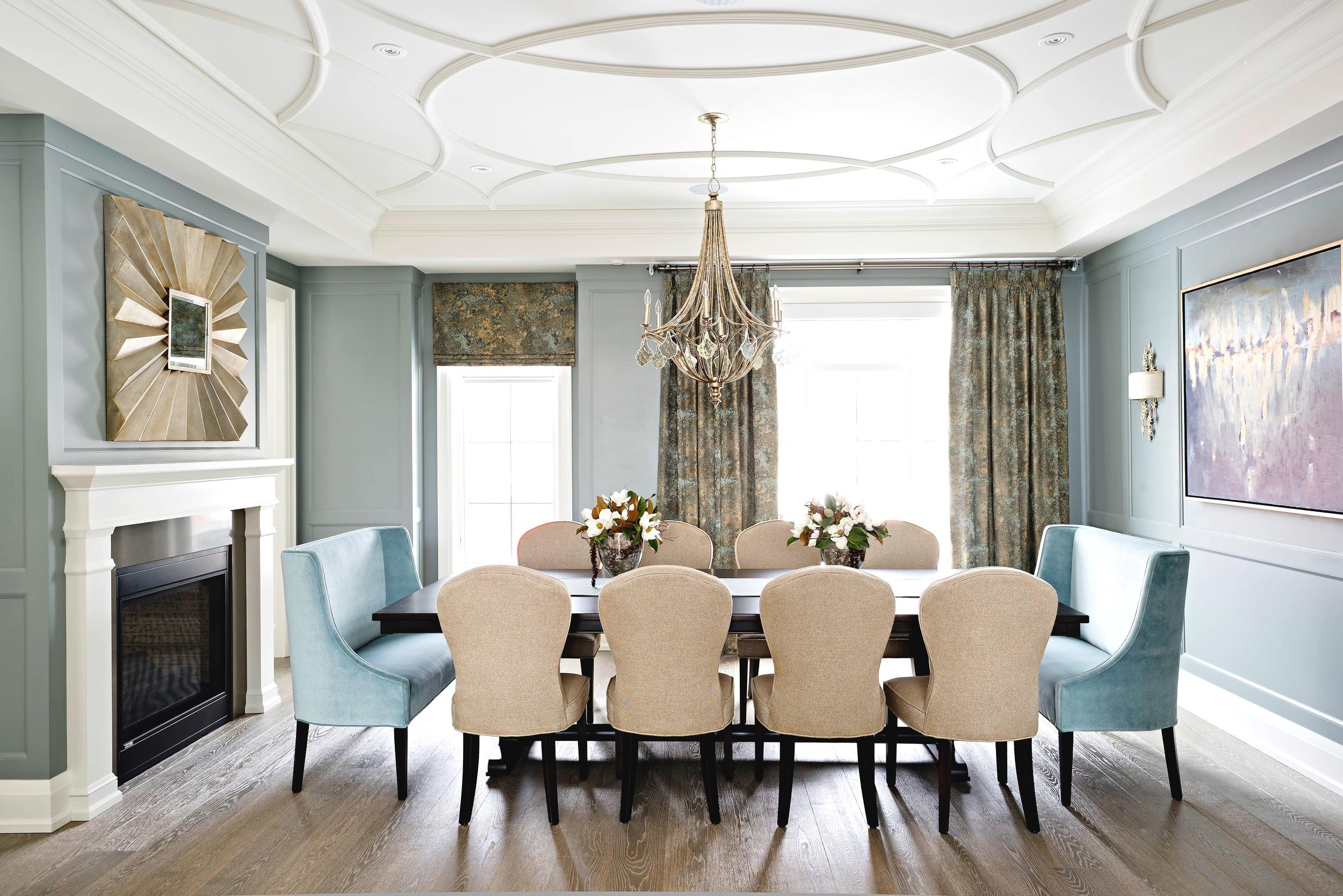 Pizzale Design Interior Design Cozy Dining Room Large Table Custom Ceiling Detail Drapery.jpg