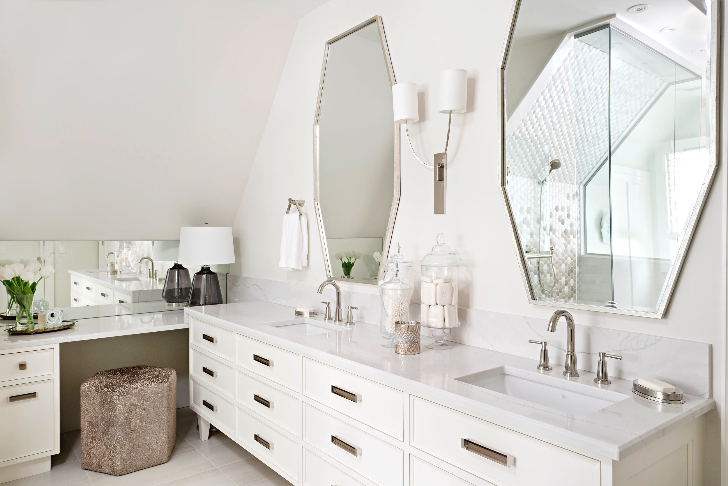 Interior Designer Pizzale Design Dual sink vanity Custom Mirror Marble Countertop Rectangle Pulls Light Airy Bathroom.jpg