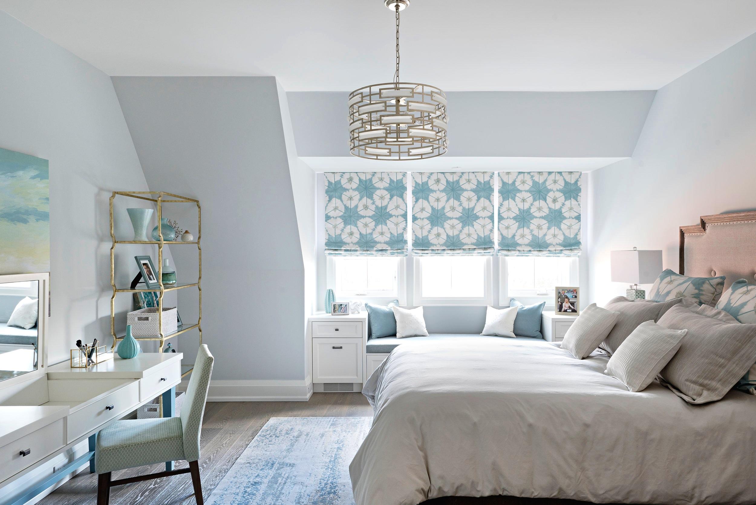 Interior Designer Pizzale Design Girls bedroom 1 Feminine Teal White Window Bench Millwork.jpg