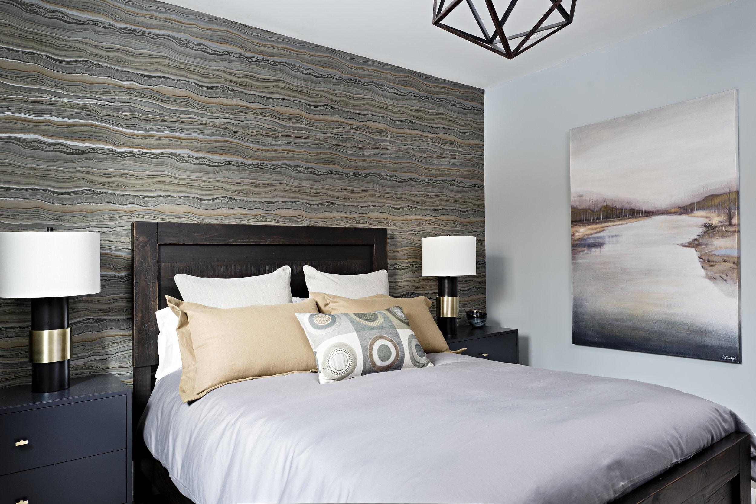 Interior Designer Pizzale Design Masculine Bedroom Wallpaper Navy Blue Nightstand Wood Bedframe.jpg