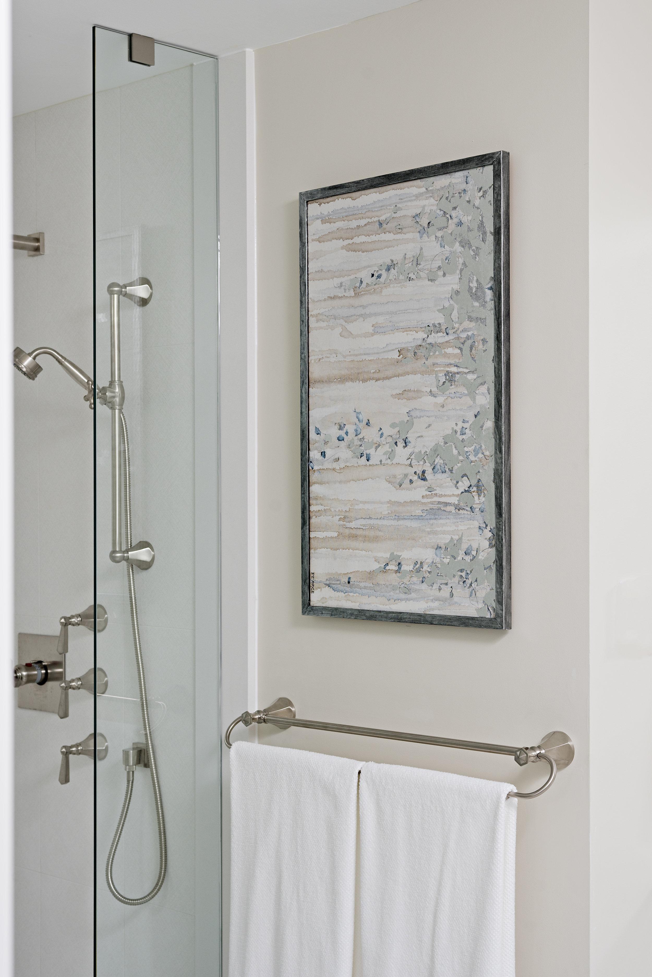 pizzale design interior design white bathroom driftwood grey picture frame water colour canvas print satin nichel towel bar glass enclosed shower.jpg