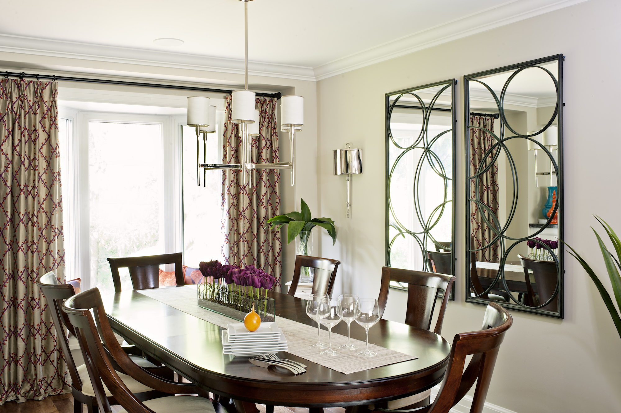5- Pizzale Design Interior Decorating Dining Room Purple Accents Beige.jpg