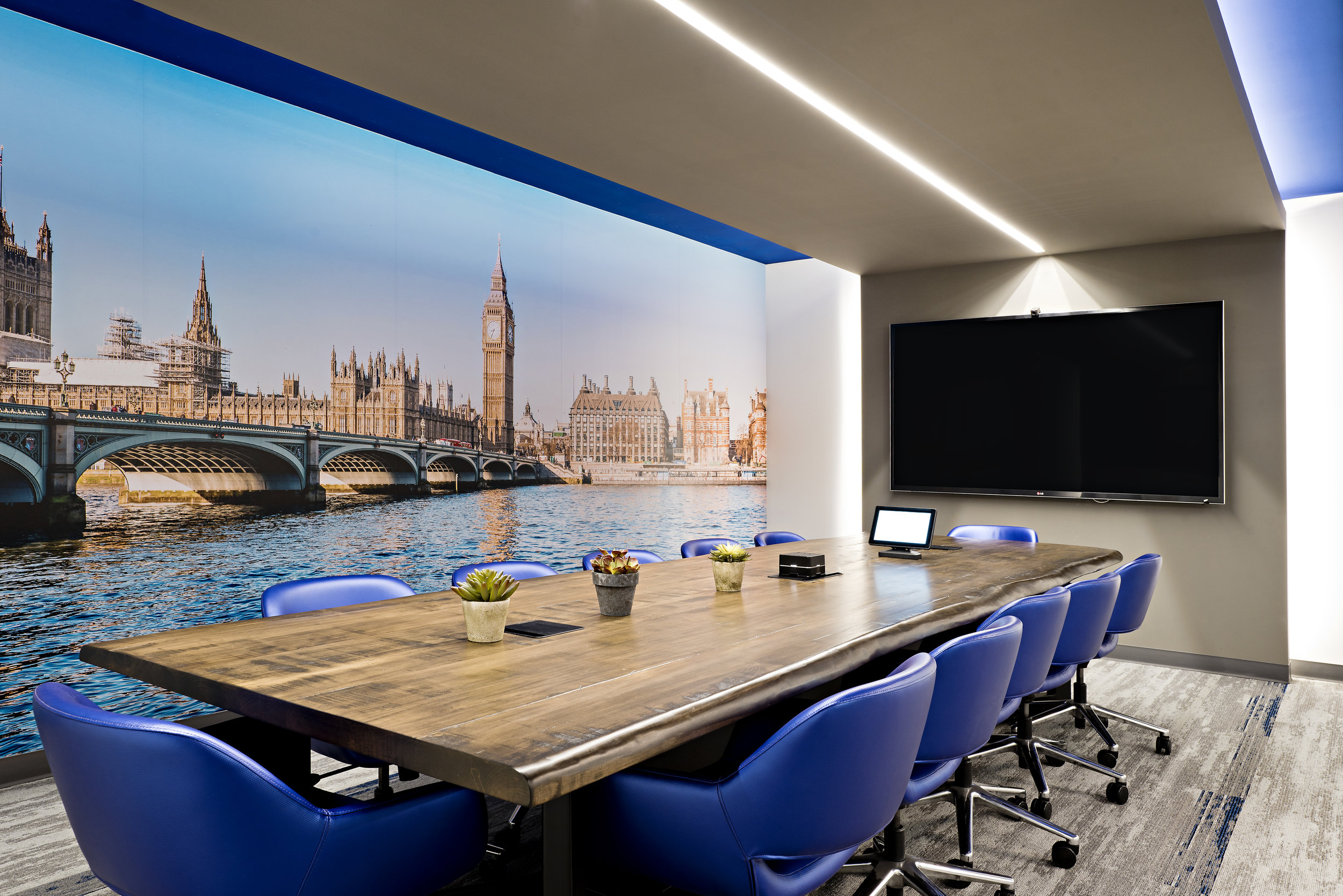 6pizzale design interior design commercial boardroom getoab office space blue live edge table wall mural led lighting modern carpet succulent.jpg