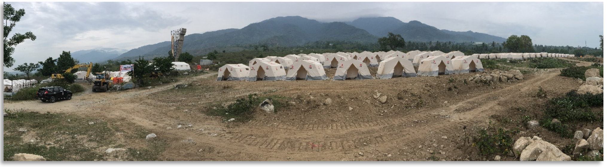 The site pictured above required the removal of large rocks and leveling of the site to accommodate 240 family tents.