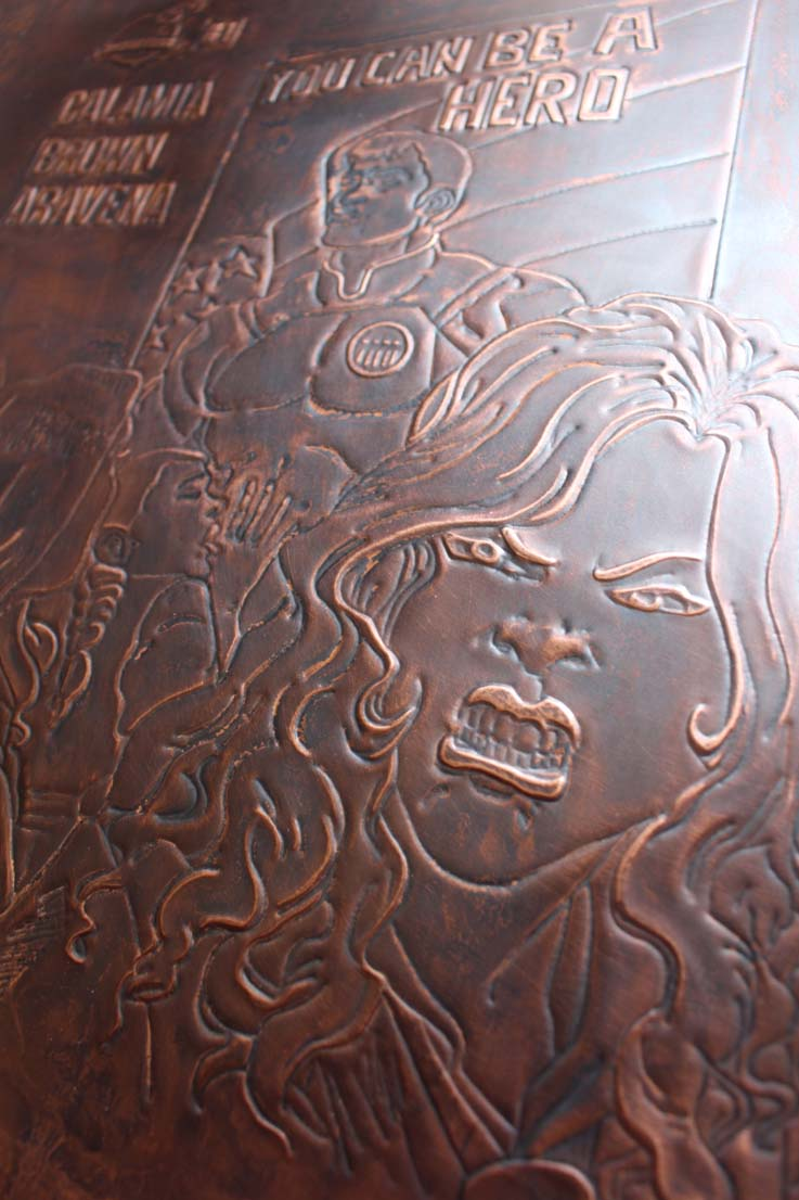 Close up of  comic book cover  copper on left