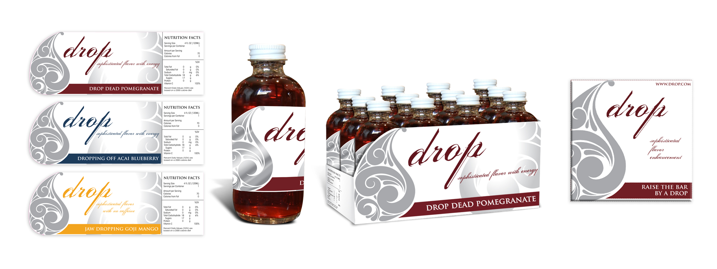 Beverage Company  /  Drop   /   Alternative Packaging Design Bottle labels, bottle and table top packaging, Bar Napkin
