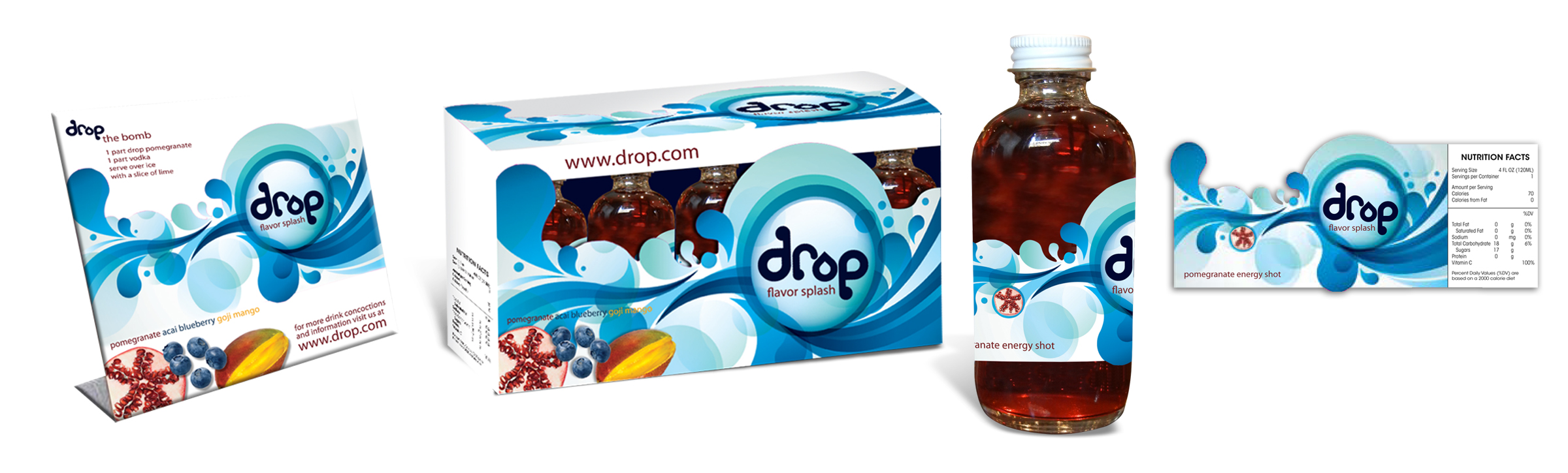 Beverage Company  /  Drop   /  Packaging Design POS POstcard,packaging,Bottle and label