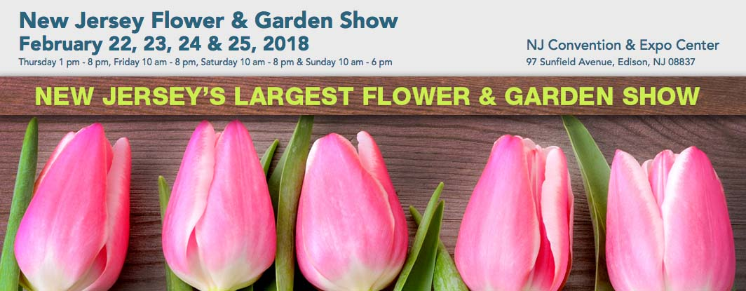 """Welcome to the 15th annual New Jersey Flower & Garden Show at the New Jersey Convention & Expo Center in Edison.  This year's theme is  """"Color The World"""", featuring spectacular and unique garden displays created by landscapers, garden centers, nurseries, and non-profit organizations influenced by some of the most colorful places in the world. Walk through fabulous feature gardens with an international flair, representing beautiful states and countries, and enjoy an explosion of breathtaking color and excitement.  As the Garden State's largest flower and garden show, this four-day event attracts thousands of flower and garden enthusiasts with its fabulous display gardens produced by New Jersey's top landscapers. In addition to the beautiful garden displays, the NJ Flower & Garden Show hosts state-renowned competitions in horticulture and artistic floral arranging, gardening presentations, seminars and demonstrations, special events, hand made crafters and a grand indoor Marketplace where you can shop for all of your gardening needs and outdoor projects. One of the highlights of the show is the Standard Flower Show presented by the Garden Club of New Jersey.  Thursday 1 pm - 8 pm, Friday 10 am - 8 pm, Saturday 10 am - 8 pm & Sunday 10 am - 6 pm"""