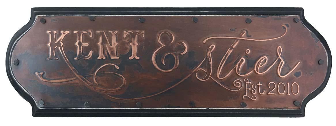 """Anniversary Sign  12 x 4"""" / custom design / 7th anniversary is copper"""