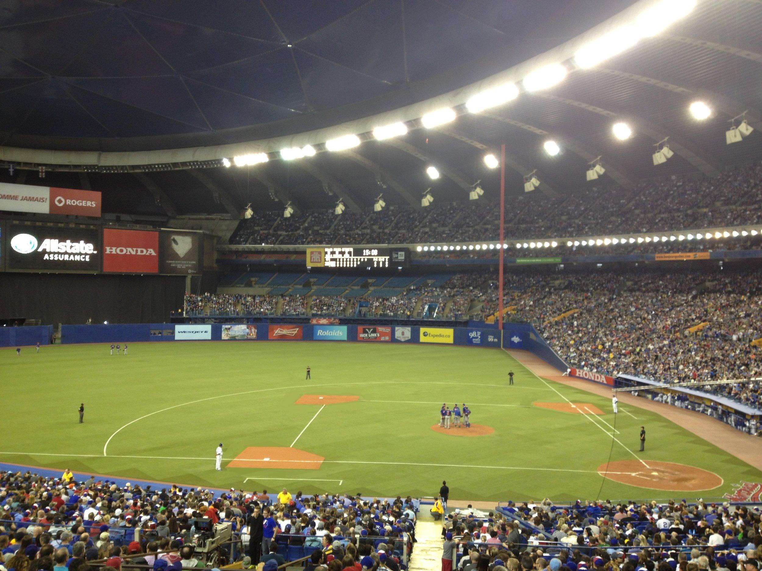MLB Baseball Installation of Nexxfield E.2. Turf panels. Montreal Olympic stadium