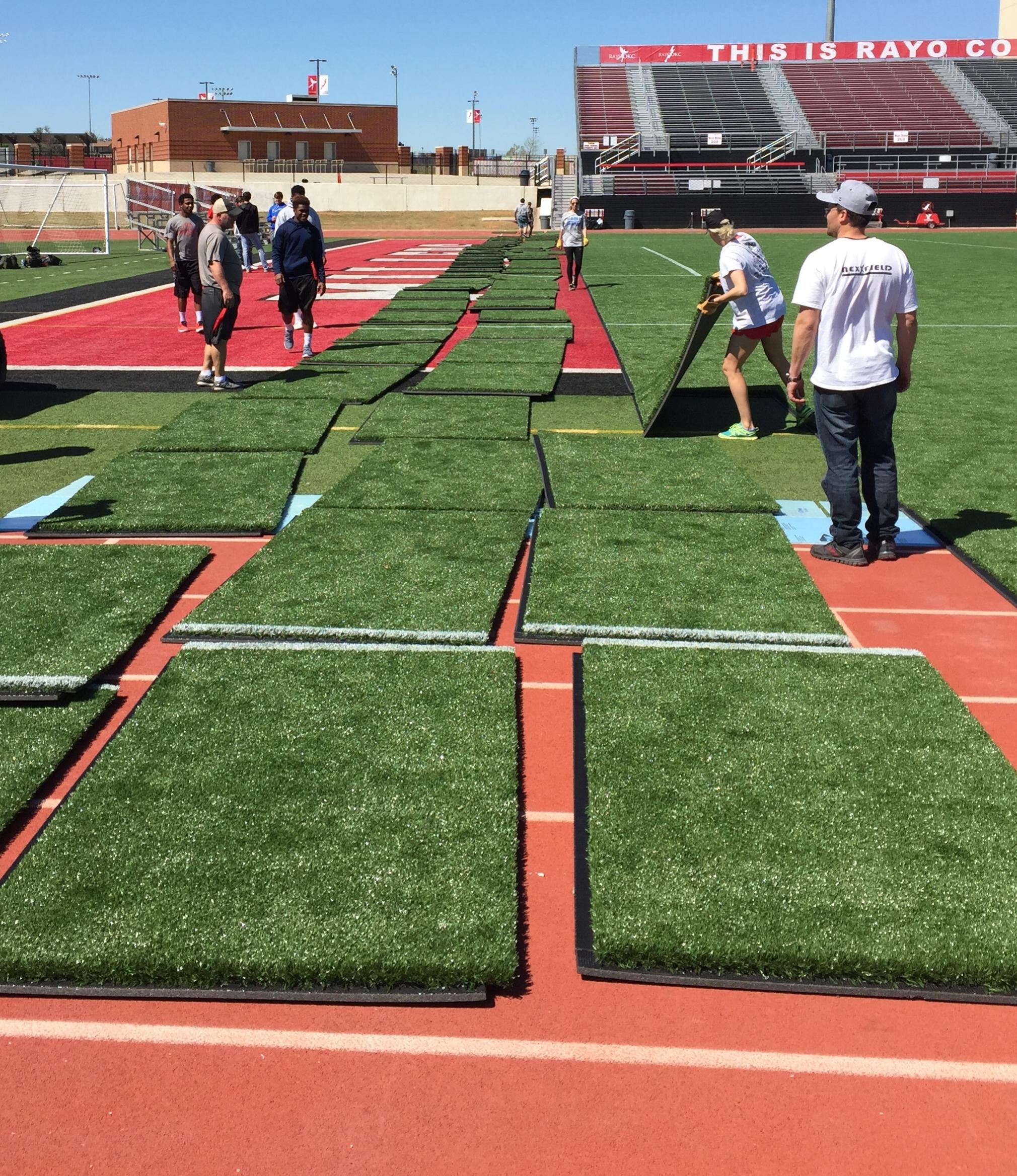 Rayo OKC, NASL Soccer team field E.2. Panel installation.