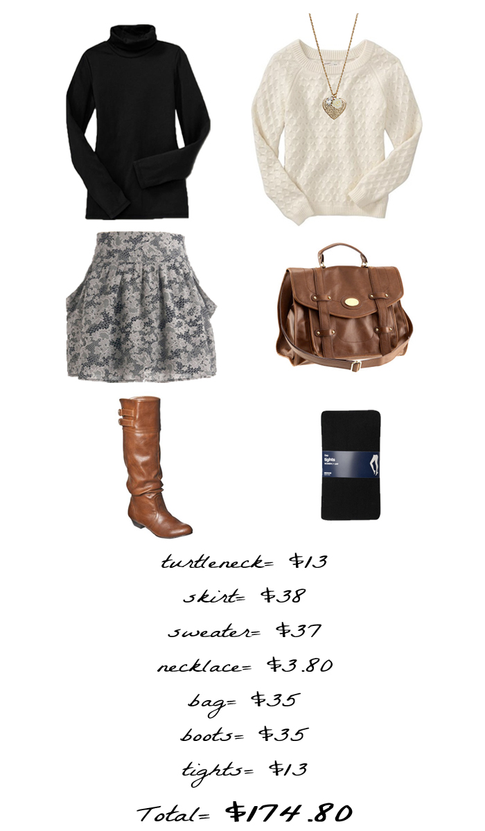 Turtleneck , Skirt , Sweater , Necklace , Bag , Boots , Tights