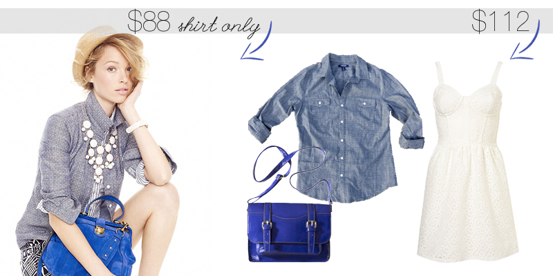 JCrew Chambray Shirt  $88, OldNavy Shirt $25,  Target Crossbody  $23,  Corset Dress  $64
