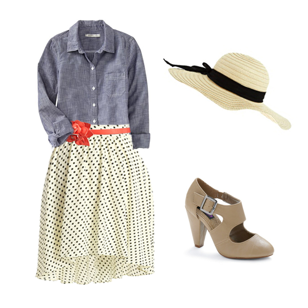 Shirt ,  Skirt ,  Belt ,  Shoes ,  Hat