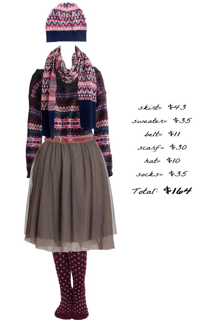 Sweater , Scarf , Hat , Belt , Skirt , Socks