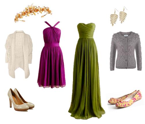 Pink Dress , Heels , Cream Cardi , Tiara , Green Dress , Flats , Grey Cardi , Earrings