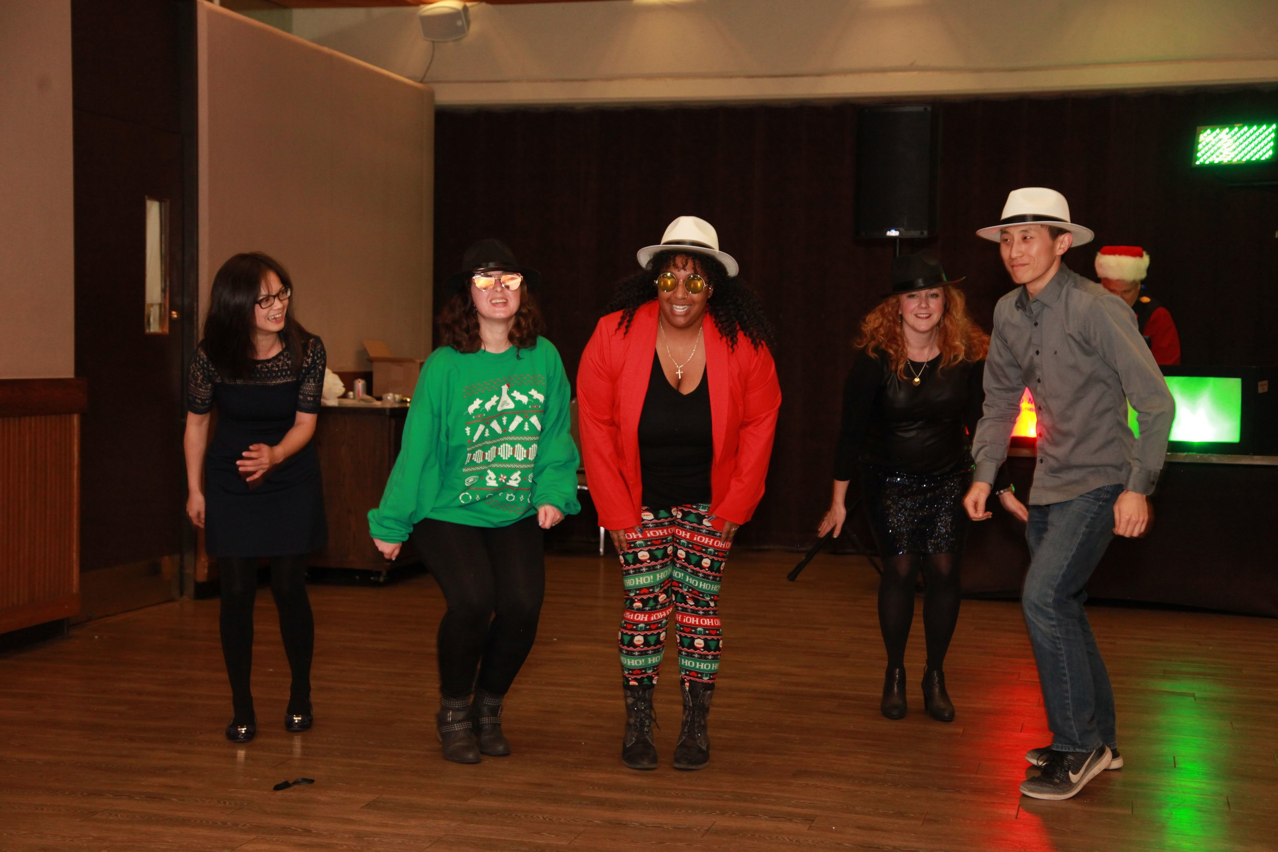 Reese lab participates in Immunology Holiday Party lip-sink battle. Guoxun was strategically absent, but we roped rotation student, Eugene, into the fun!