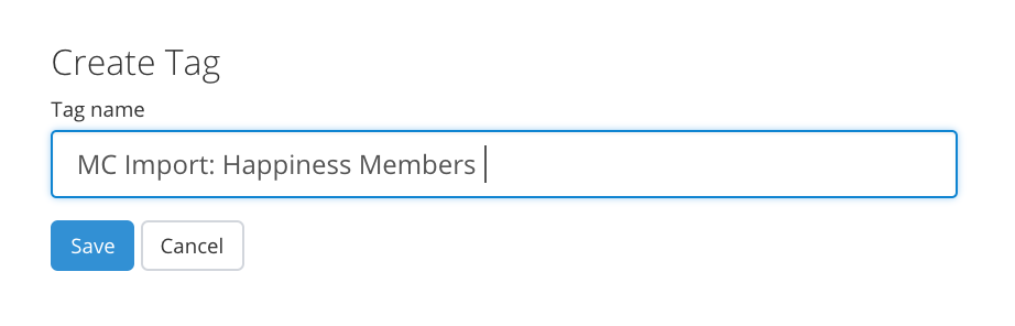 Name the new Tag inside ConvertKit