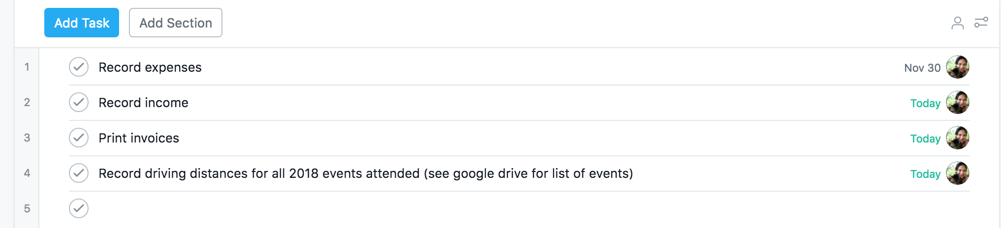 List View in Asana