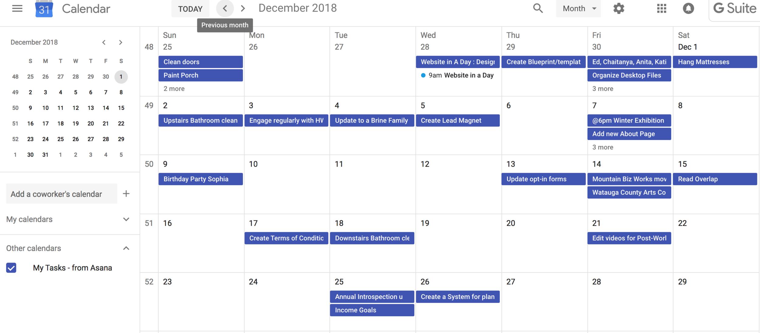 Google Calendar Synch up with Asana My Tasks